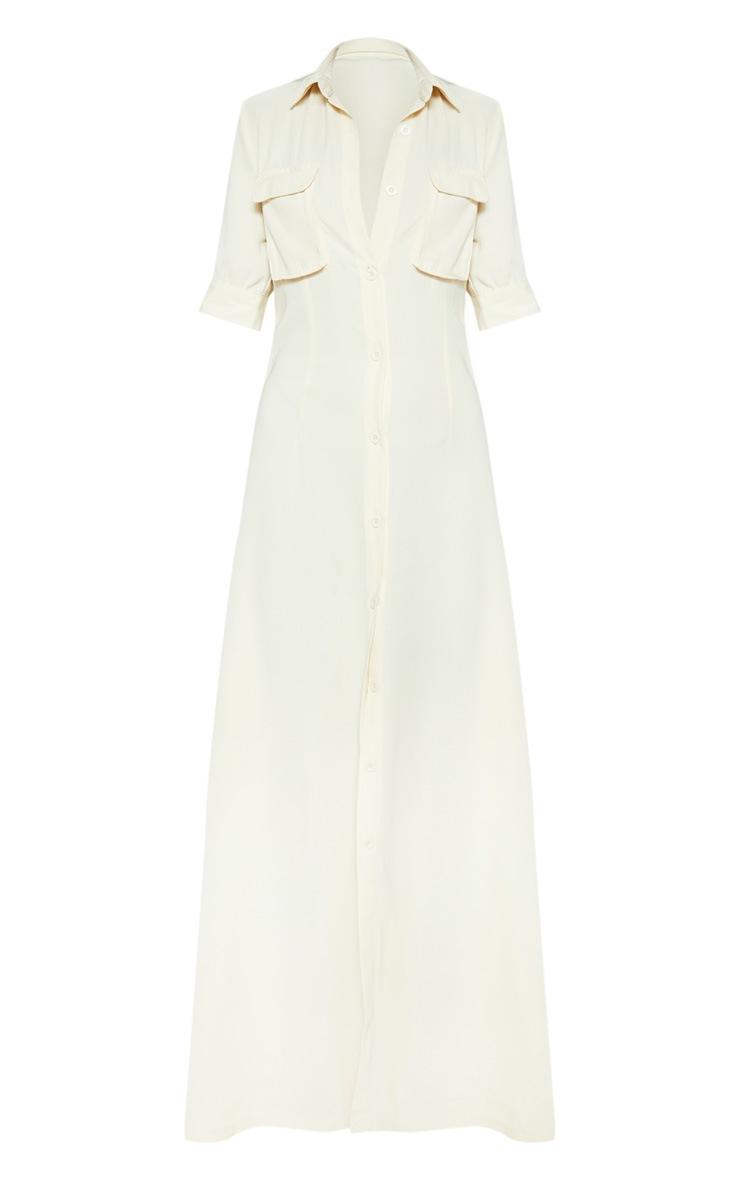 Cream Short Sleeve Maxi Shirt Dress  3