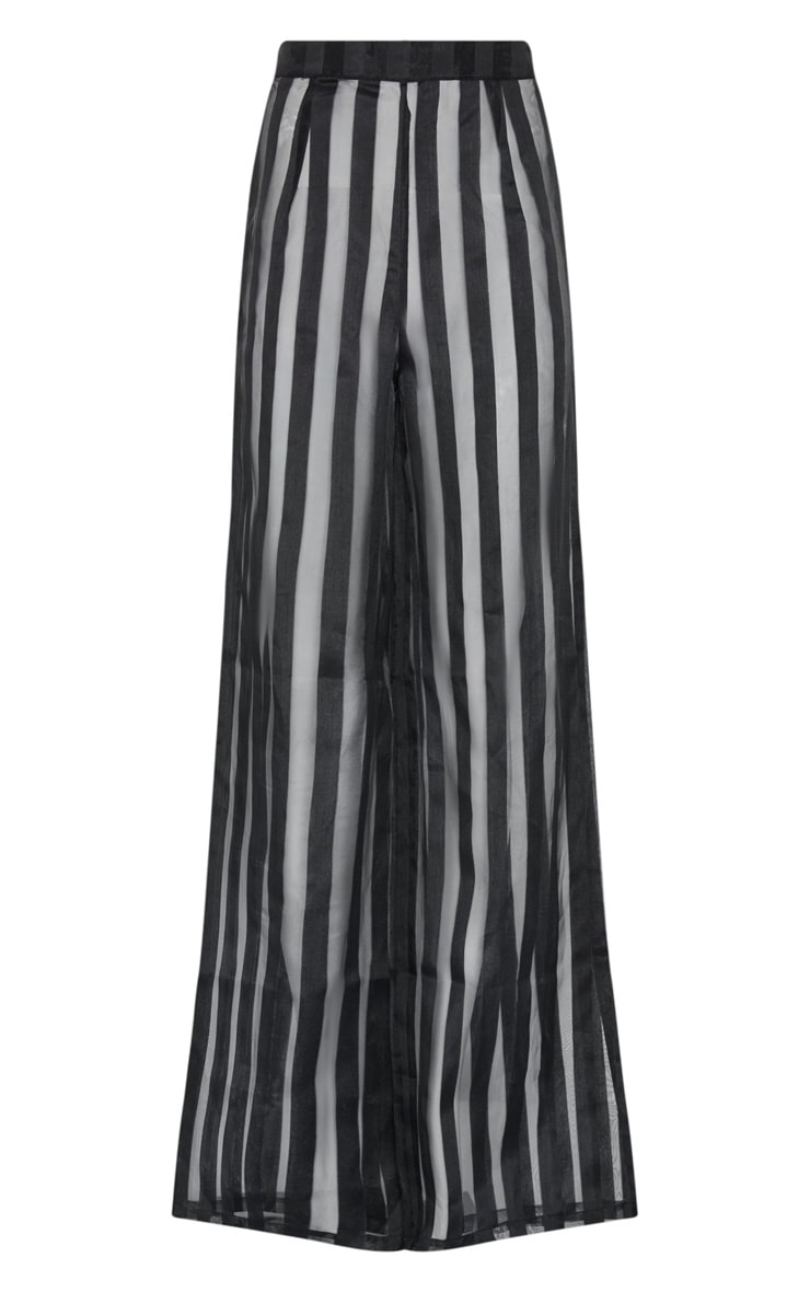 Black Sheer Stripe Wide Leg Trouser 3