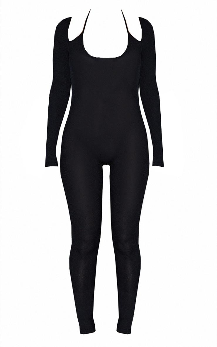 Black Double Strap Rib Scoop Neck Rib Jumpsuit 5