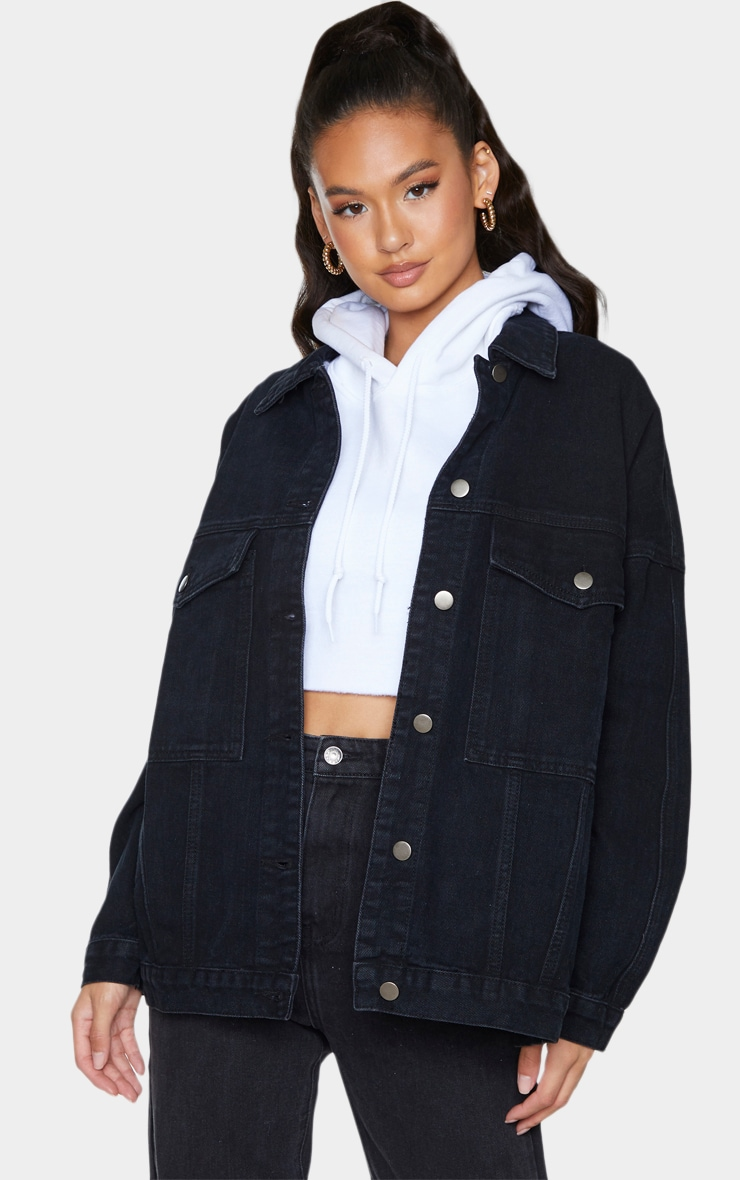 PRETTYLITTLETHING Washed Black Oversized Seam Detail Dad Fit Denim Jacket 1