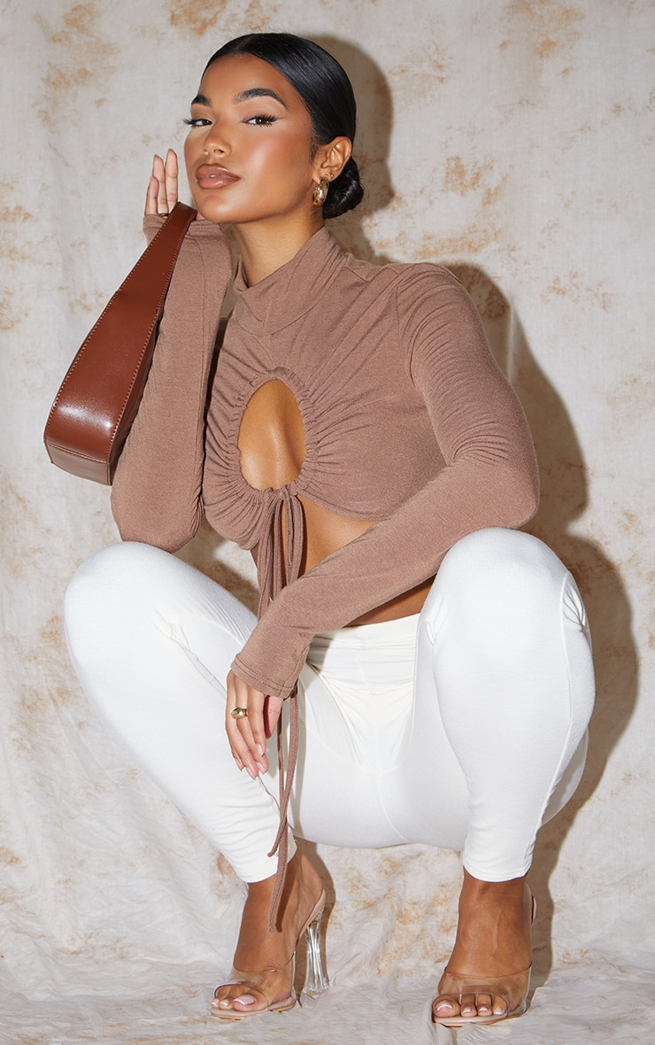 Recycled Chocolate Contour Jersey Ruched Keyhole Tie Detail Long Sleeve Crop Top 3