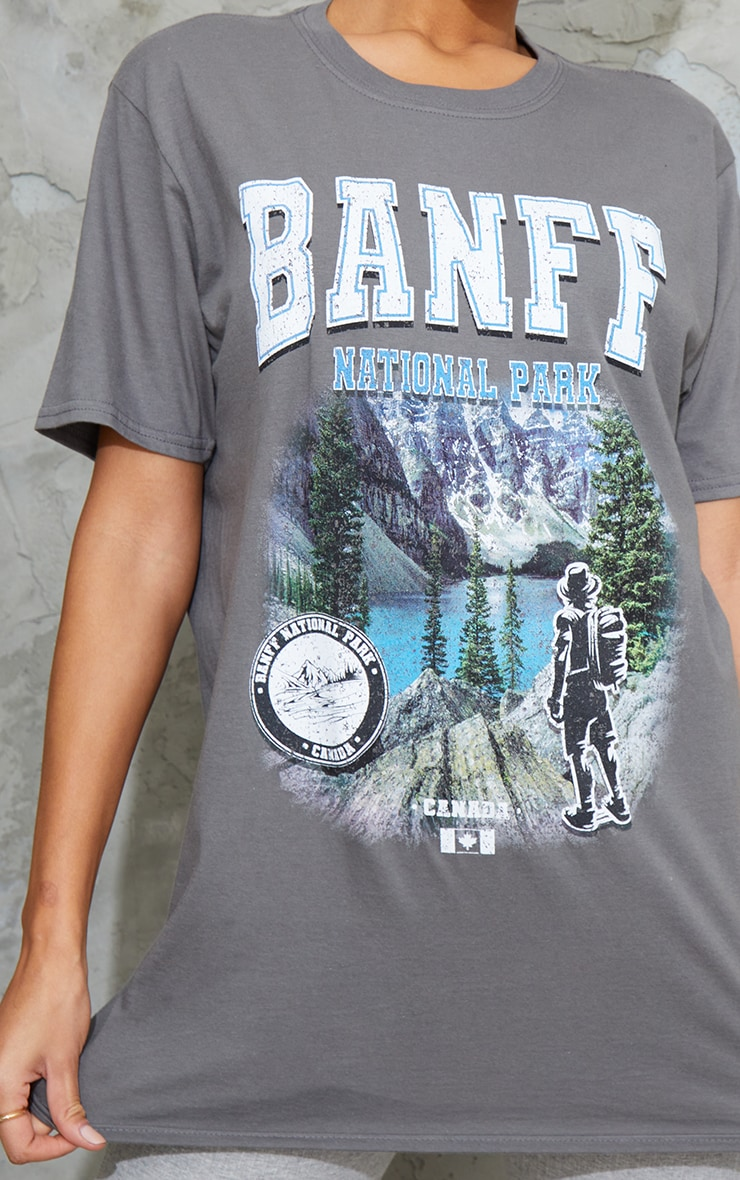 Grey Banff National Park Print T Shirt 4
