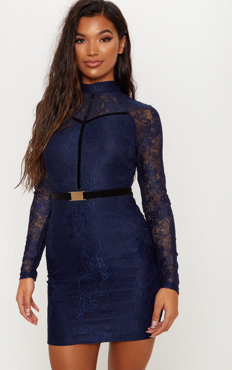 Navy Ribbed Lace Backless Bodycon Dress 2