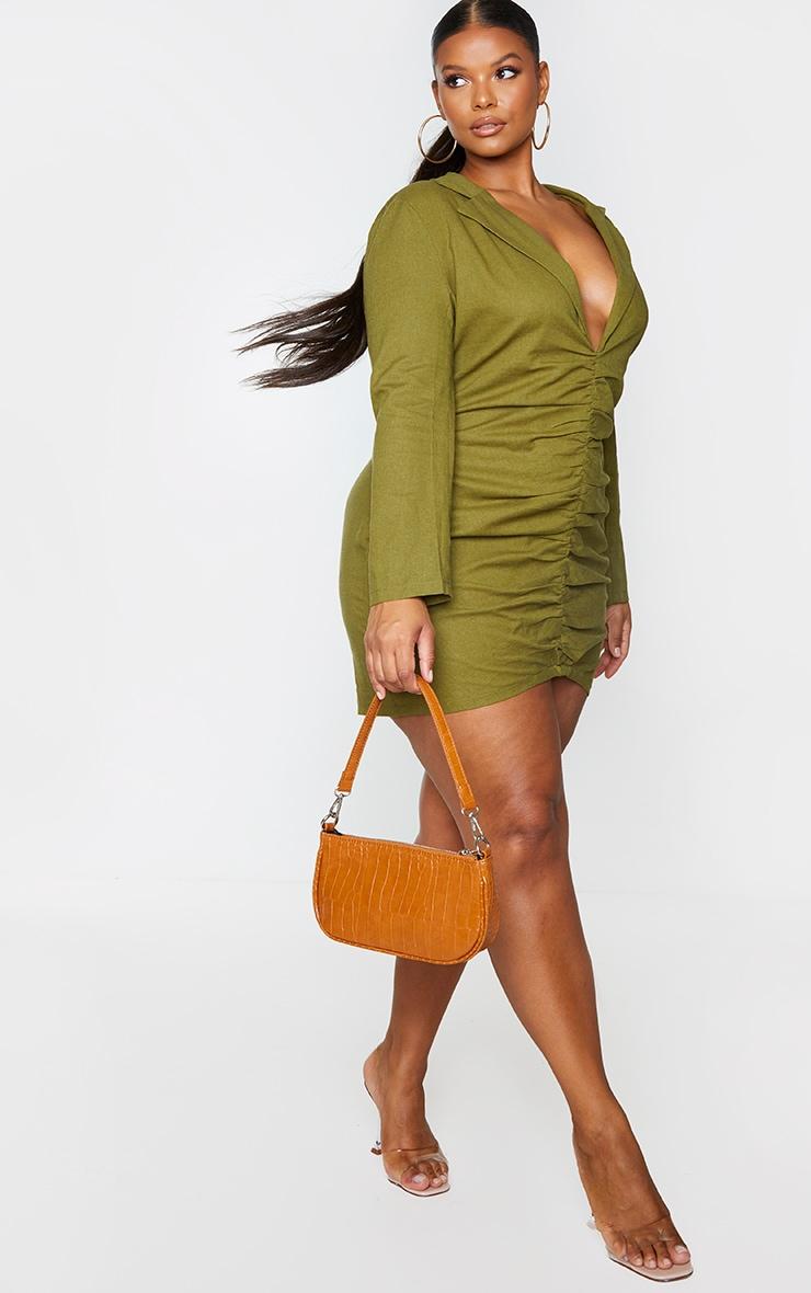 Plus Khaki Plunge Ruched Front Blazer Dress 1