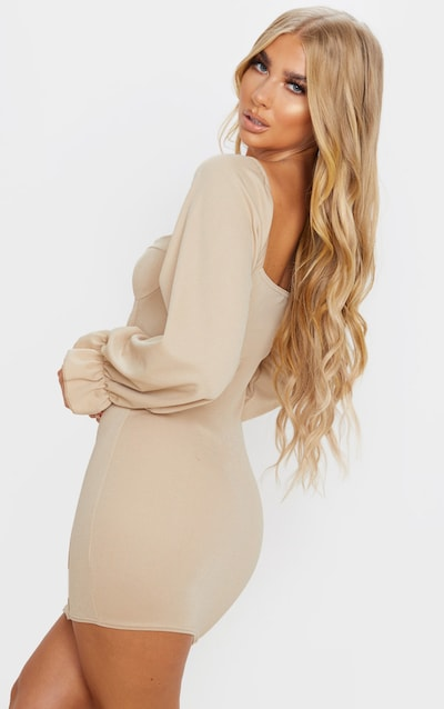 Fawn Zip Up Cup Detail Balloon Sleeve Bodycon Dress