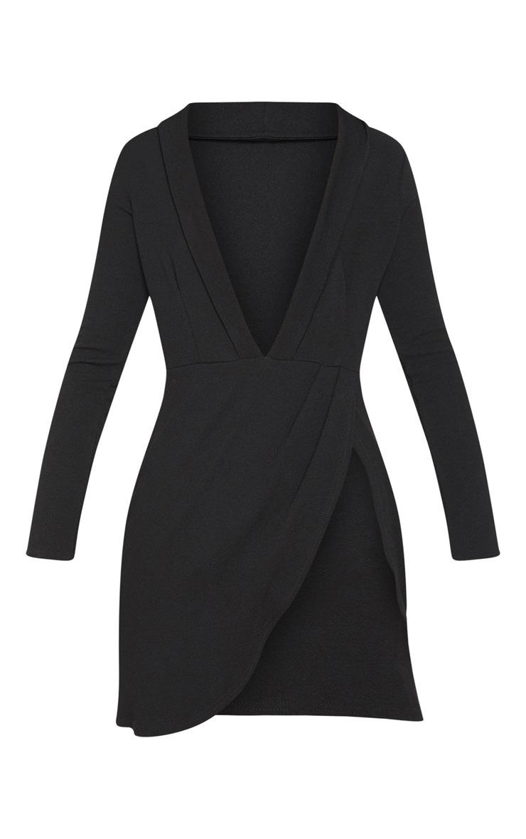 Black Lace Insert Blazer Dress  3