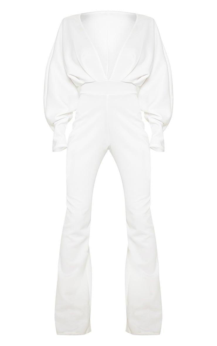 Plus White Pleated Balloon Sleeve Jumpsuit 3
