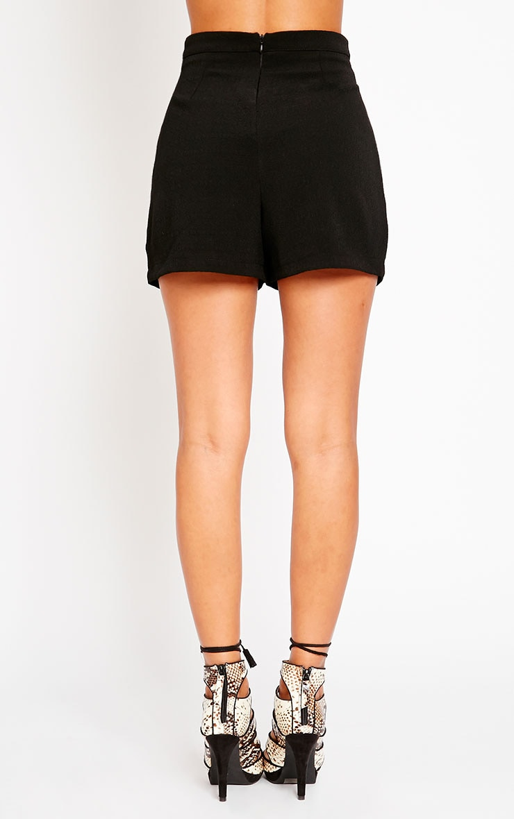 Raissa Black Notch Front High Waist Shorts 4