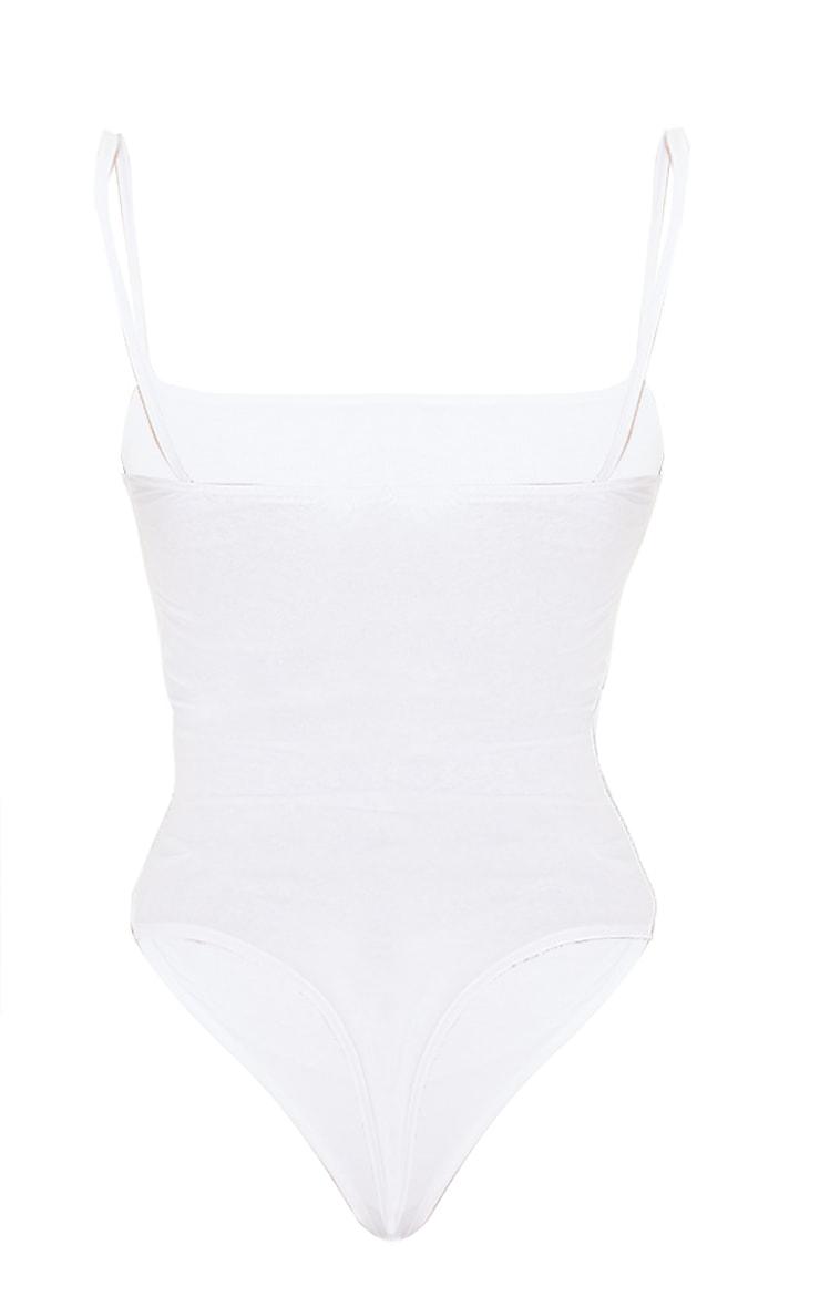 Basic Square Neck White Thong Bodysuit 6