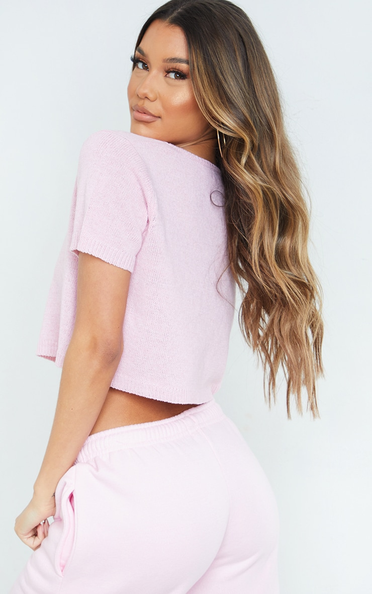 Baby Pink Tie Front Knitted Short Sleeve Cropped Cardigan 2