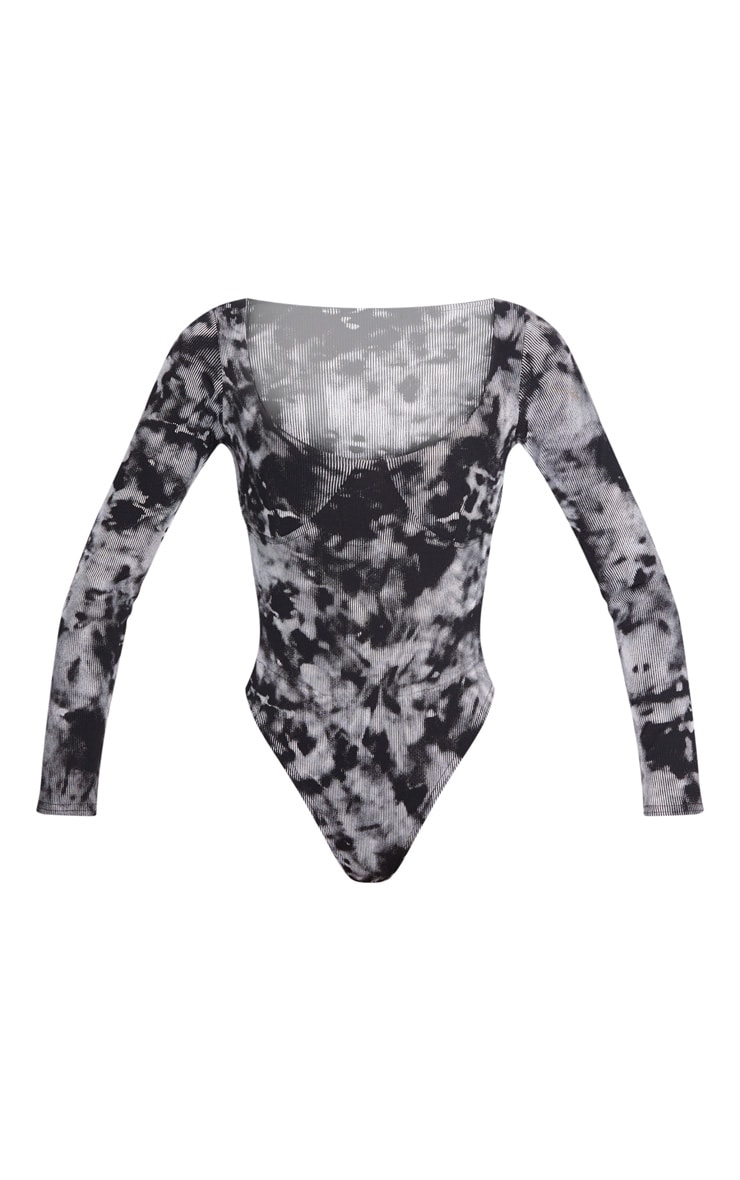 Black Tie Dye Printed Rib Cup Long Sleeve Bodysuit 3