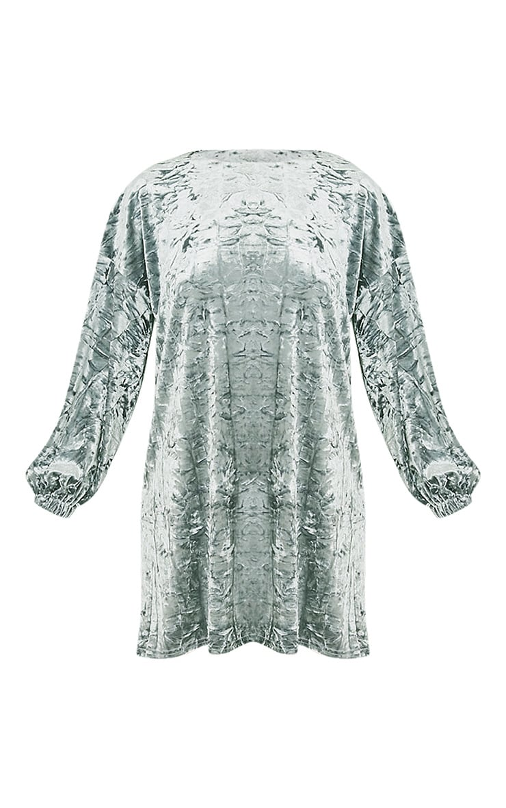 Reni Grey Crushed Velvet Oversized Shift Dress 3