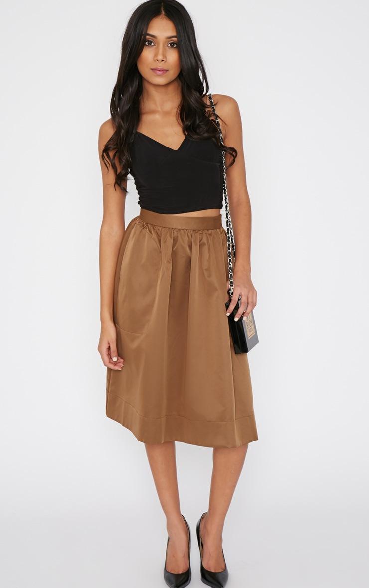 Dede Khaki A Line Midi Skirt  5