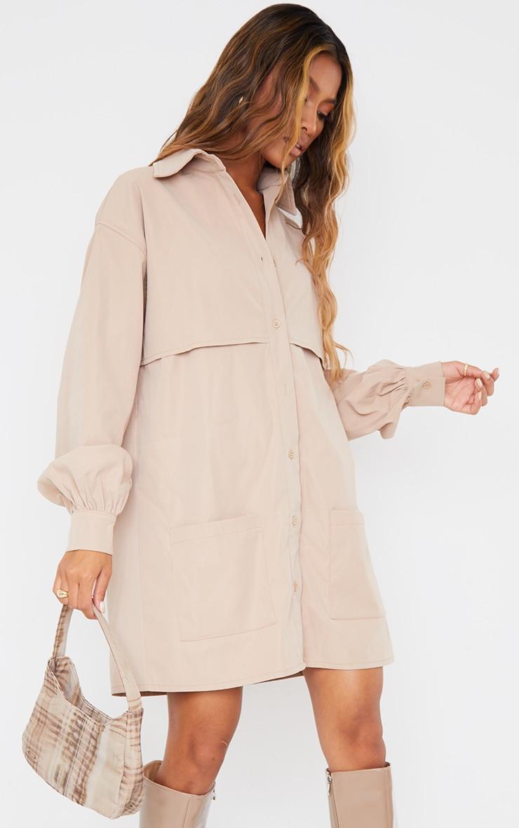 Stone Woven Overlay Pocket Detail Shirt Dress 3