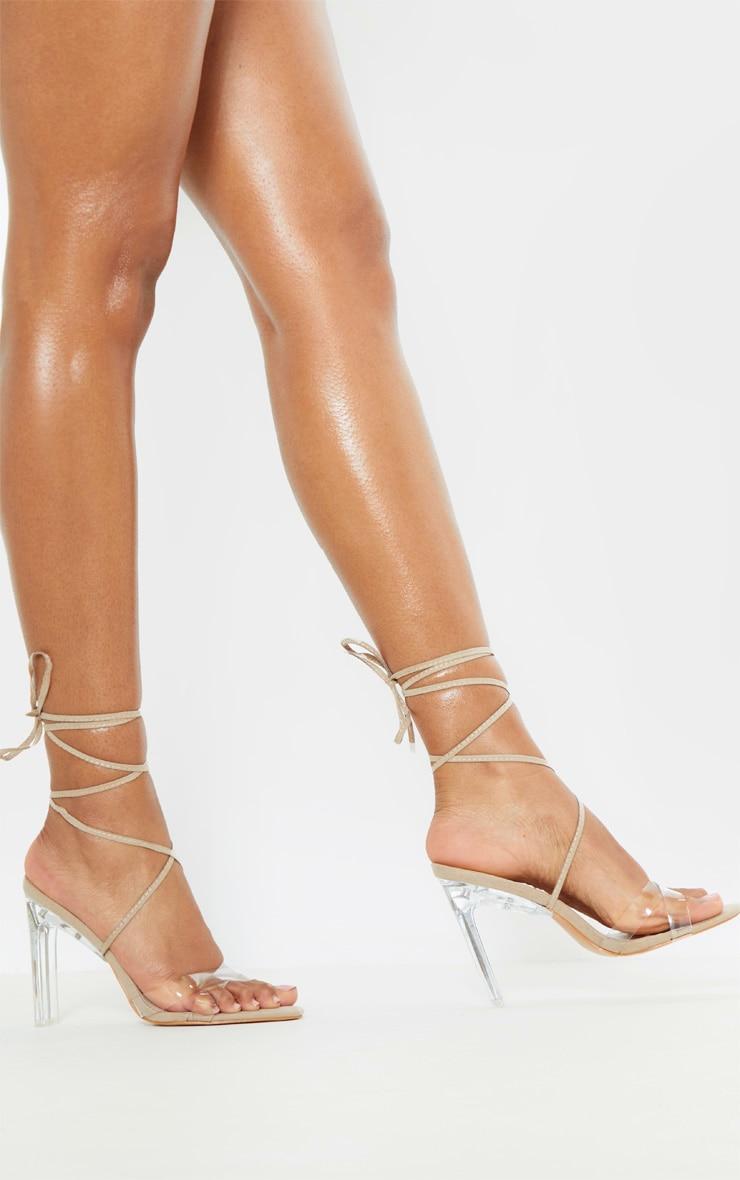 Nude Clear Heel Ankle Tie Sandal 2