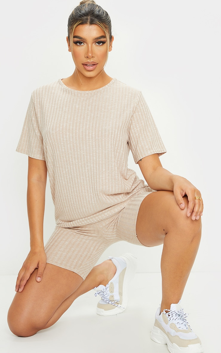 Oatmeal Oversized Knitted Tee And Short Set 3