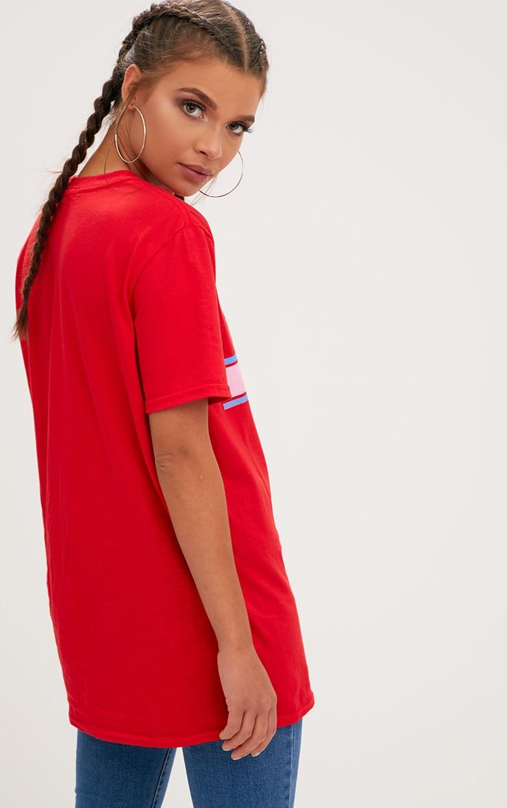 Red Femme Slogan Rose Oversized T Shirt 2