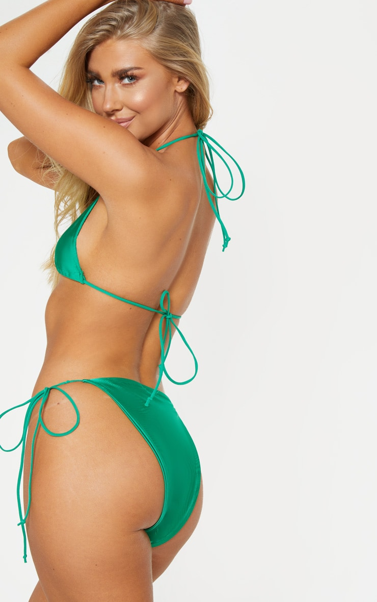 Green Skinny Strap Mini Knot Bikini Top 2