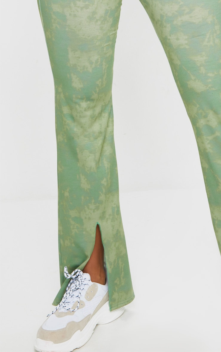Shape Sage Green Tie Dye Cotton Square Neck Split Front Jumpsuit 4