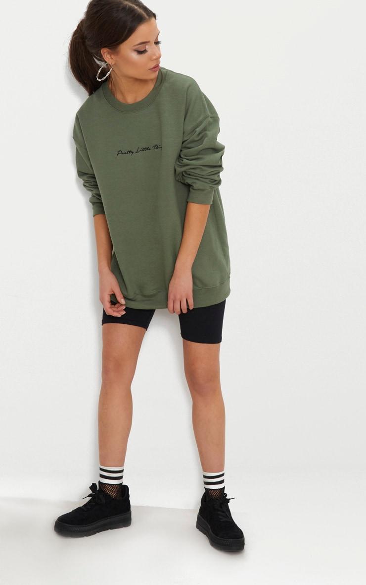 PRETTYLITTLETHING Recycled Khaki Oversized Sweatshirt 3