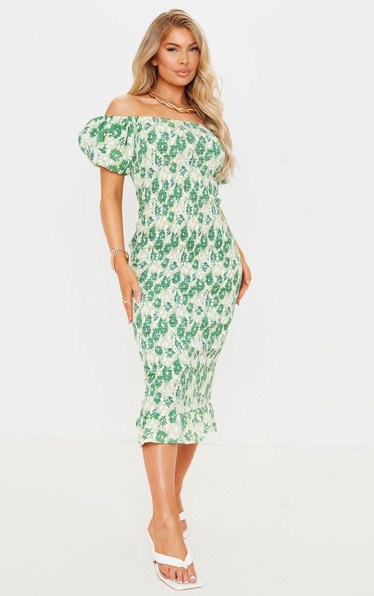 Green Floral Print Shirred Puff Sleeve Midi Dress 1