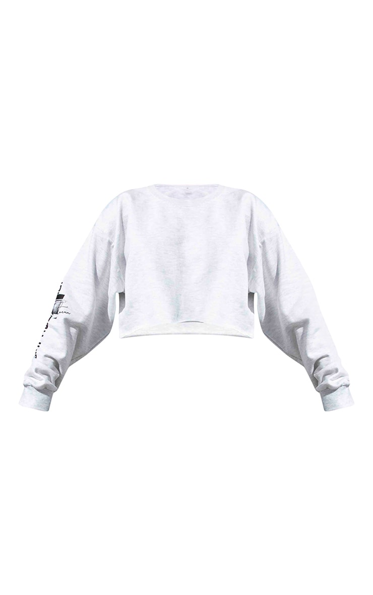 Plus Grey Los Angeles Slogan Cropped Sweater 5