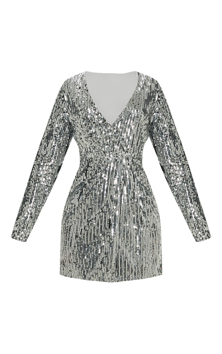 Silver Sequin Plunge Wrap Dress Dresses Prettylittlething