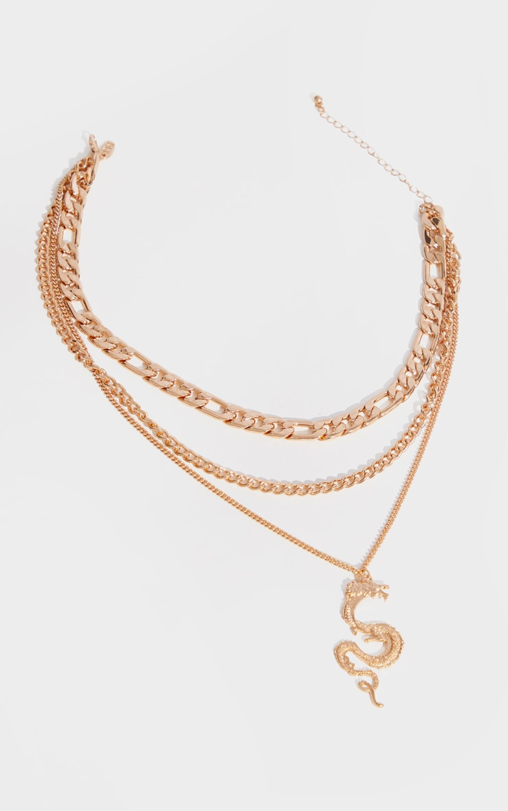 Gold Assorted Chain Dragon Layering Necklace 3