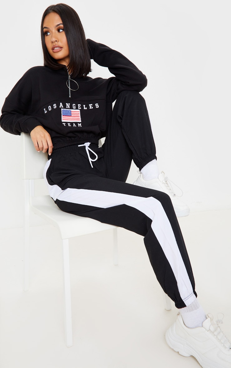 Black Los Angeles Embroidered USA Zip Sweater 3