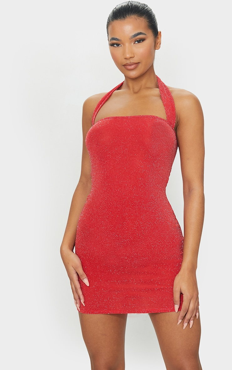 Red Textured Glitter Halterneck Bodycon Dress 1