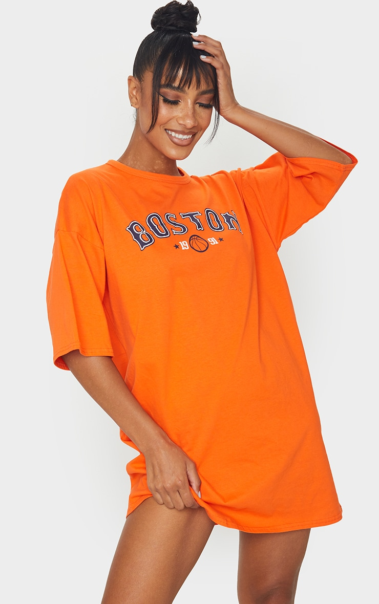 Orange Boston Slogan Oversized T Shirt Dress 3