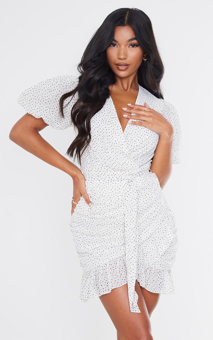 White Polka Dot Chiffon Puff Sleeve Ruched Bodycon Dress 1
