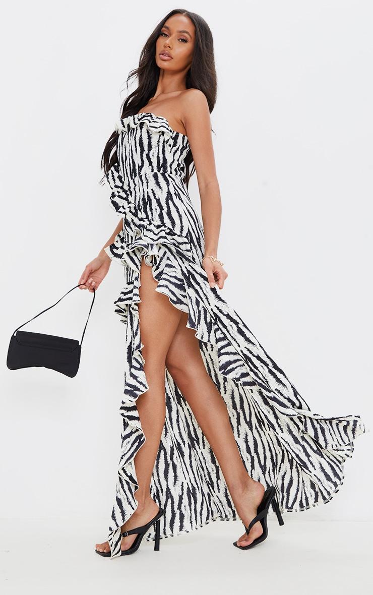 Monochrome Zebra One Shoulder Frill Split Maxi Dress 1