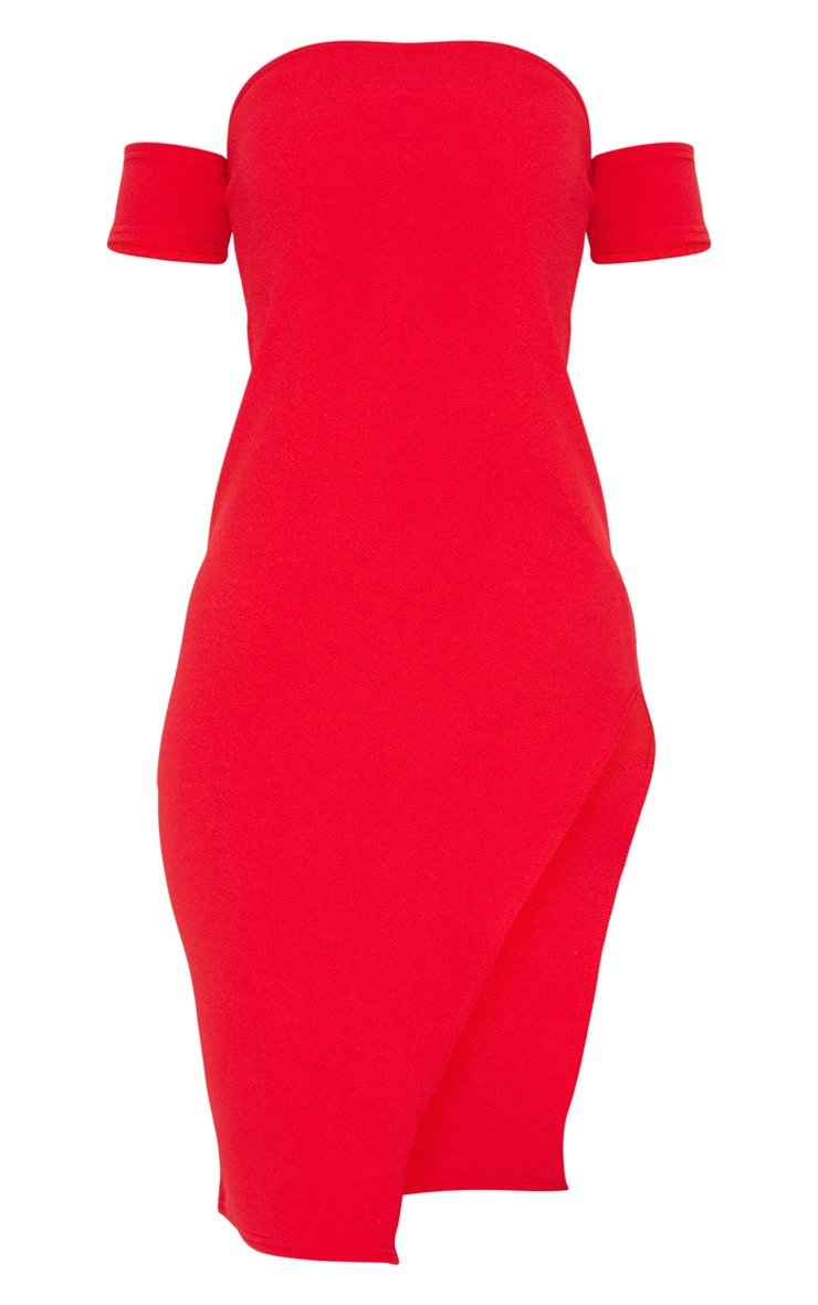 Red Cuff Detail Side Split Midi Dress 3