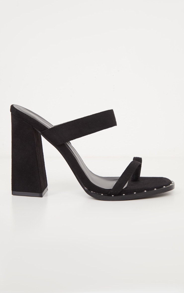 Black Toe Loop Mule Block Heel Stud Detail Sandal 3