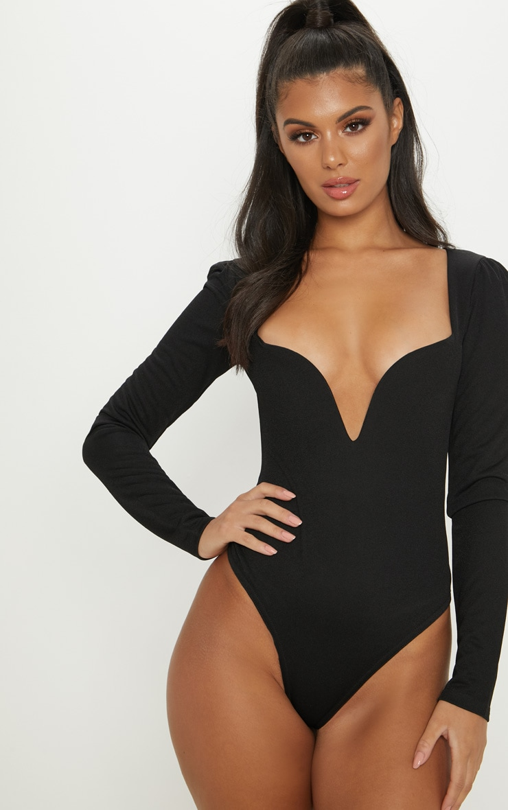 Black Long Sleeve Plunge Bodysuit 2
