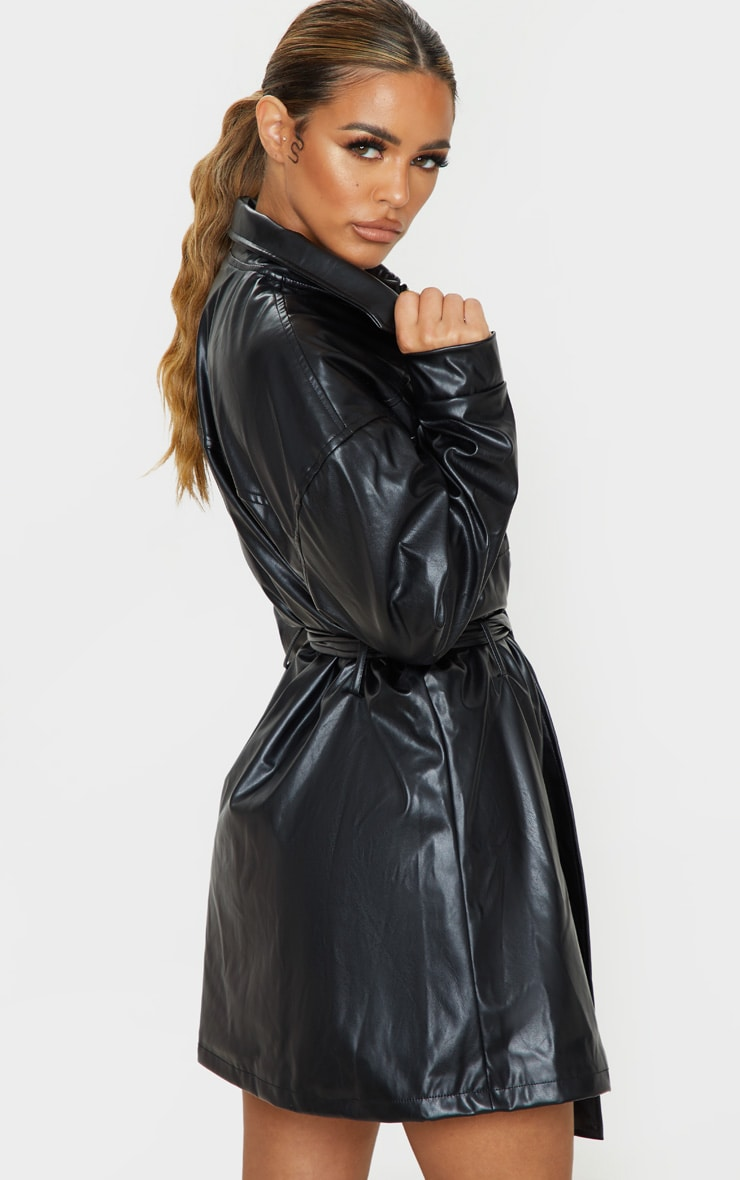 Petite Black Belted PU Jacket Dress 2