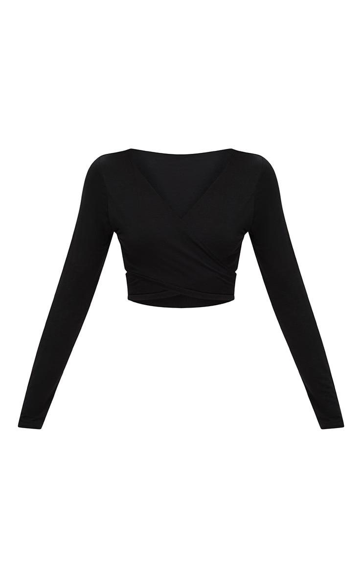 Top court cache coeur en jersey noir manches longues 3