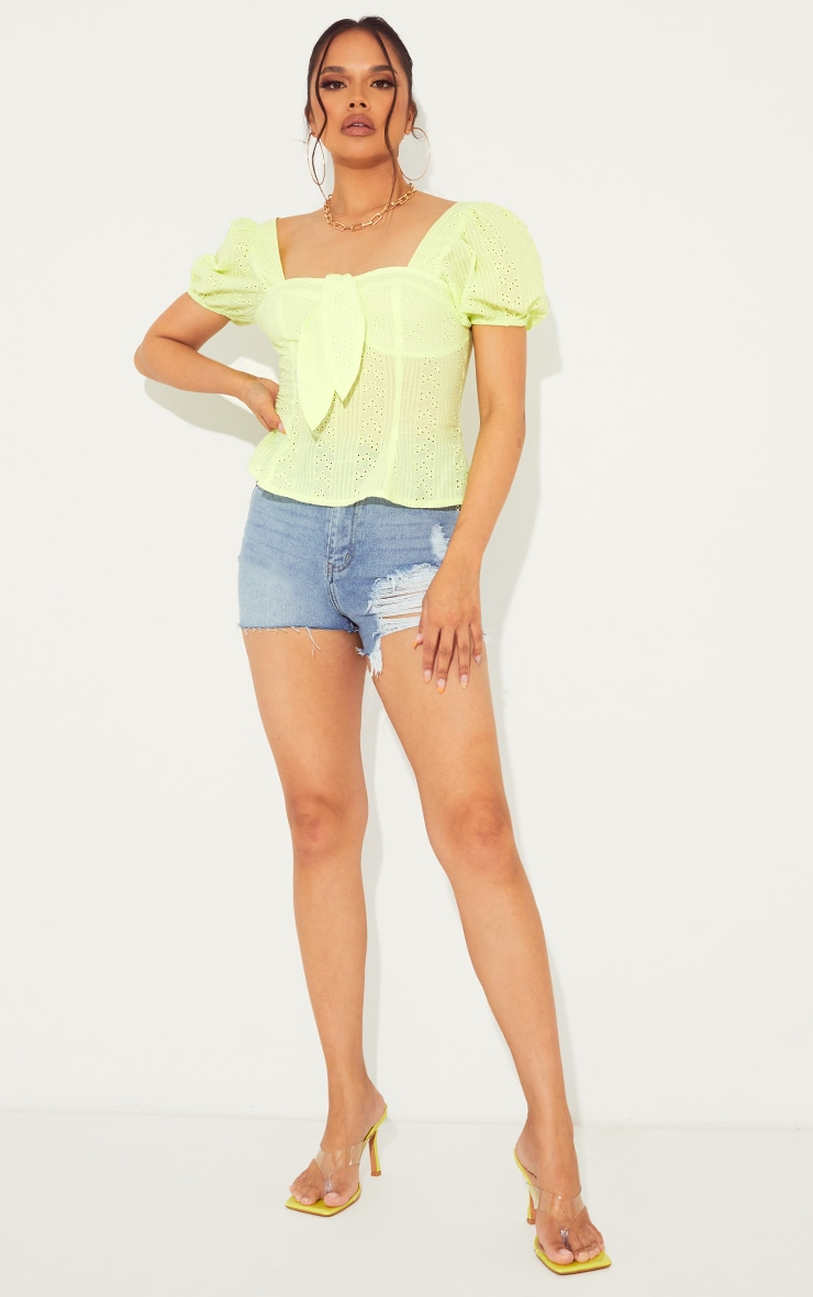 Lime Broderie Anglaise Puff Sleeve Tie Front Top 3