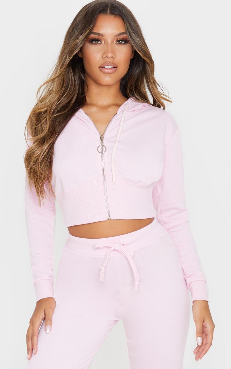 Light Pink Zip Up Bustier Hoodie 1