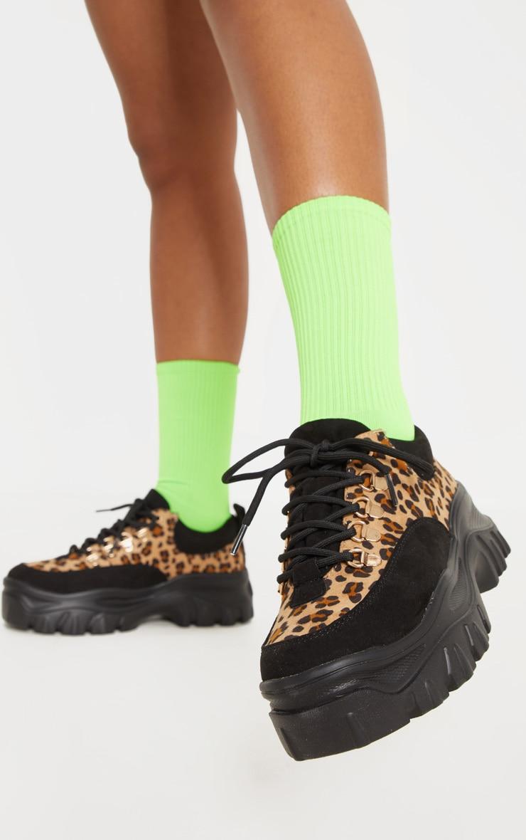 Leopard Flatform Chunky Hiker Sneakers 1