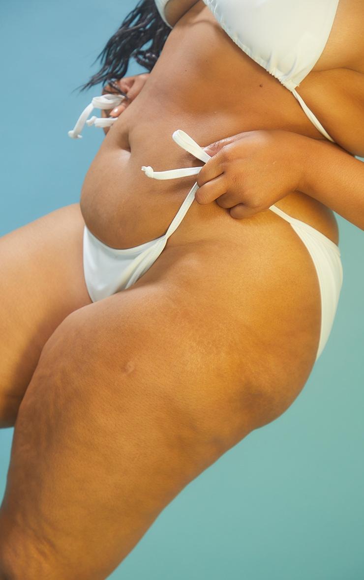 Recycled Plus White Mix & Match Tie Side Bikini Bottoms 4