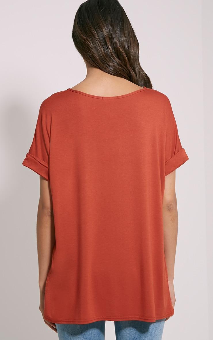 Basic Rust V Neck Oversized T-Shirt 2