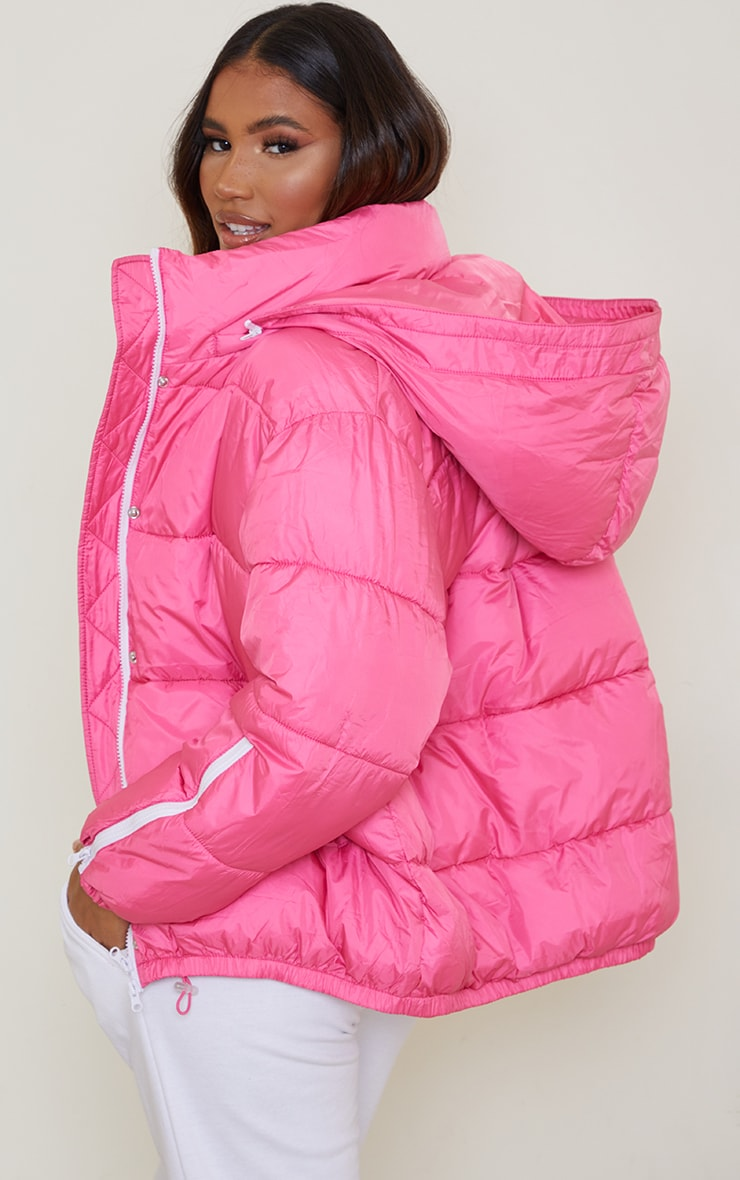Pink Nylon Oversized Zip Sleeve Puffer Jacket 2