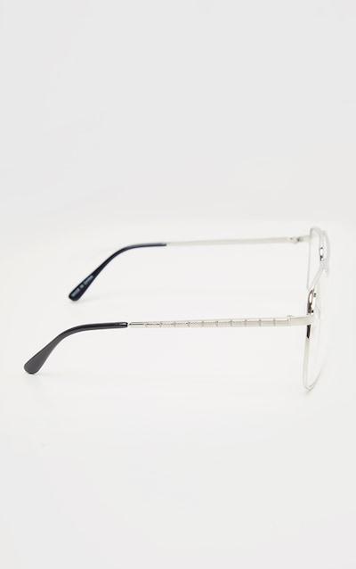 Silver Metal Frame Oversized Aviator Reader Glasses