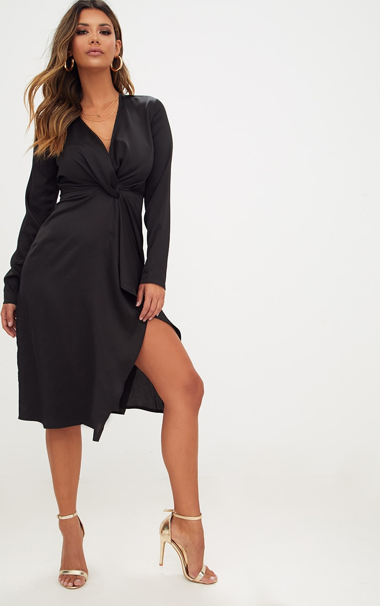 Black Satin Long Sleeve Wrap Midi Dress 1