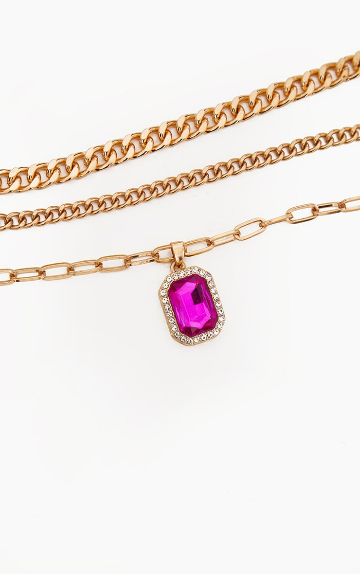 Gold Double Chain Pink Pendant Layering Necklace 4