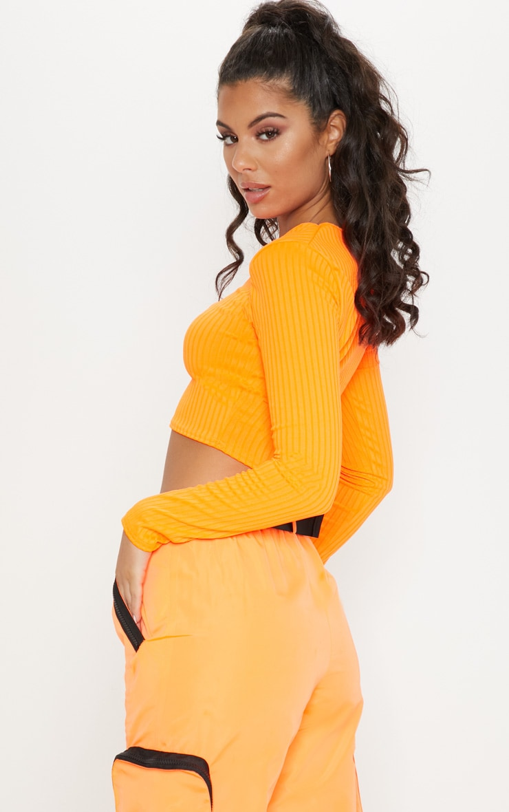 Neon Orange Scoop Neck Long Sleeve Crop Top 2
