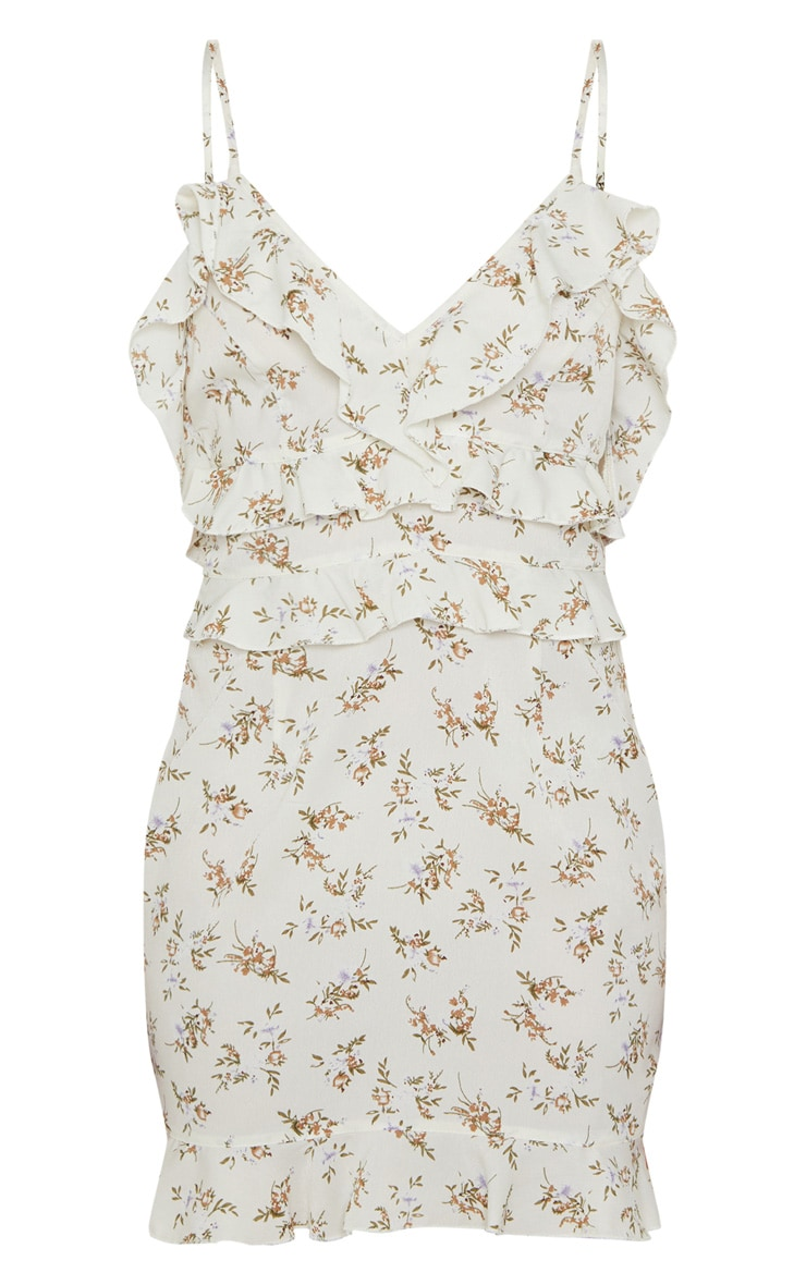 White Strappy Floral Frill Detail Bodycon Dress 3
