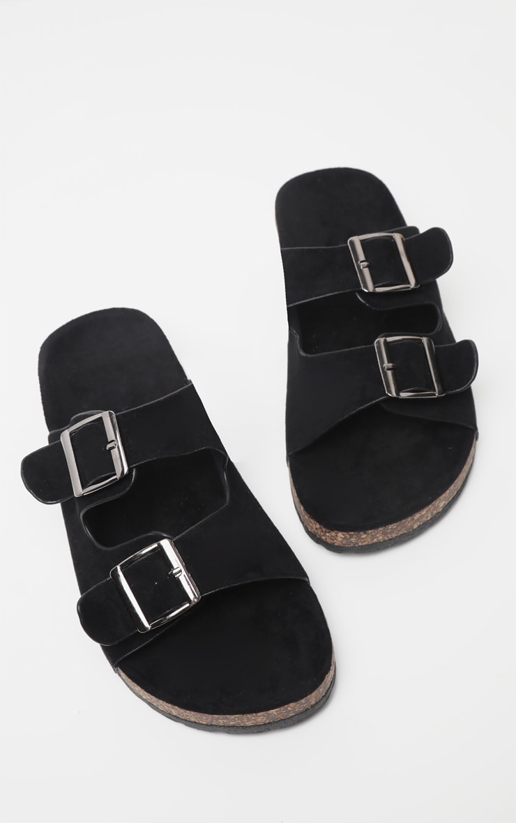 Black Double Buckle Mule Sandal 1